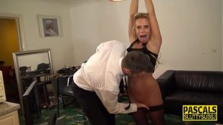 Tied up milf submissive gets fingered
